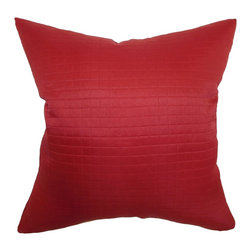 The Pillow Collection - Quintessa Quilted Pillow Cherry - This bold and sexy cherry-colored throw pillow is a perfect statement piece. This scene-stealing accent pillow features a quilted pattern. This decor pillow is made from 100% polyester fabric. This quilted pillow is versatile, and it can be combined with other decor styles. Prop this square pillow on your favorite chair to add comfort and style. Hidden zipper closure for easy cover removal.  Knife edge finish on all four sides.  Reversible pillow with the same fabric on the back side.  Spot cleaning suggested.
