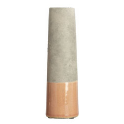 Housedoctor Vase 'Tube XS,' Concrete Gray/Pink - I love the slim design of this vase, as well as the contrasting peach glaze on the concrete finish.