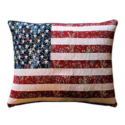 Pillow Decor - Pillow Decor - United States Flag Tapestry Throw Pillow 15 x 19 - This bold US flag pillow is an authentic French tapestry weave. This classic American flag is wonderfully blended with a faint floral design in the background. From a few paces away this makes the pillow look vintage. Up close, the French tapestry weave and flavor come to life.