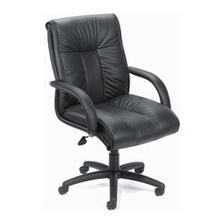 BOSS Chair - Italian Leather Low Back w Knee Tilt in Black - The finest Italian top grain leather makes this office chair hard to pass up. Plus, you'll enjoy a deep padded seat & back, comfortable arms and customized controls that put you in charge. Nylon base sits atop 5 dual wheel casters for effortless, smooth mobility. Italian executive leather chair. Beautifully upholstered with imported Italian top grain Leather. Executive Mid Back styling with extra lumbar support. Pneumatic gas lift seat height adjustment. Adjustable tilt tension control. Upright locking position. Leather upholstered armrests. Large 27 in. nylon base for greater stability. Hooded double wheel casters. Arm Height: 26 - 30 in. H. Seat Size: 23 in. W x 22 in. D. Seat Height: 19 - 23 in. H. Overall Size: 28 in. W x 33.5 in. D x 39 - 43 in. H. Weight Capacity: 250 lbs.