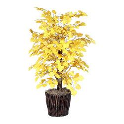 Vickerman - 4' Yellow Aspen Bush - 4' Yellow Aspen Bush with a dark brown rattan container