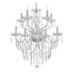 "The Gallery - Crystal Icicle Waterfall Chandelier Lighting Dining Room Chandeliers H 30"" W 24"" - THIS MAGNIFICENT CHANDELIER IS DRESSED WITH 100% CRYSTAL. Nothing is quite as elegant as the fine crystal chandeliers that gave sparkle to brilliant evenings at palaces and manor houses across Europe. This beautiful chandelier is decorated with 100% crystal that capture and reflect the light of the candle bulbs, each resting in a scalloped bobache. The crystal glass arms of this wonderful chandelier give it a look of timeless elegance that is sure to lend a special atmosphere in any home. SIZE:H 30"" W 24"" 10LIGHTS This item also works with energy efficient bulbs, halogen bulbs, compact fluorescent bulbs, LED bulbs etc (not included)."
