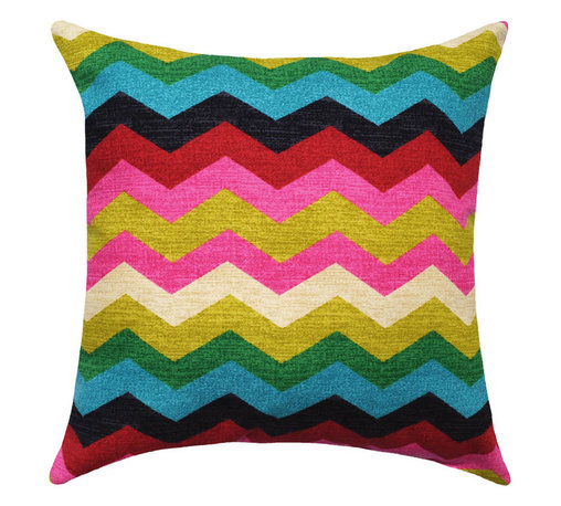 Land of Pillows - Waverly Panama Wave Desert Flower Decorative Zig Zag Chevron Stripe Throw Pillow - Fabric Designer - Waverly