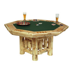 Cedar Poker Table w/Log Base - Let the games begin with the Cedar Poker Table. This 8-sided custom poker table has a half-log table top  diagonally inlaid with black walnut. Scooped poker chip and drink holders. Premium green felt top accents the log framework base of this rustic style table. Individually hand crafted from Northern White Cedar logs with a clear-coat catalyzed lacquer finish for extra durability. Cedar logs are hand peeled to accentuate their natural character and beauty. Table measures 61 InchDiagonally x 30 Inch H. ~ Allow 4-6 weeks for delivery.