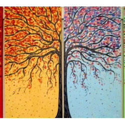 4 Seasons Tree  (Original) by Jean Vadal Smith Bentson - This is a commission painting from an original painting of mine sold .