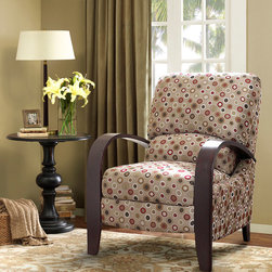 Madison Park - Madison Park Archdale Bent Arm Recliner - This retro inspired reclining chair with graceful curves adds a touch of style to your room. Its cushioned back will add extra comfort while you sit back and put up your feet in its reclining frame. Some assembly required. Wood: Select Hardwoods, Plywood Frame, Birch Legs Wood Finish: Cherry Fabrication: 100% Polyester Filling: High Density Foam Additional Features: Recliner Mechanism