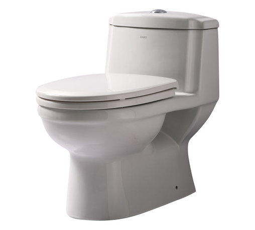 Eago - Dual Flush One Piece Eco-Friendly Ceramic Toi - Dual Flush 1.6 gpf & 0.8 gpf. Dimensions: 26 1/2in. x 15 6/8in. x 25in.. European design. Siphonic Flush System. New tower based mechanism; No chain, no flapper. Fully Glazed inside & out. Soft Closing Toilet Seat, Lid & wax ring included. Powerful & efficient 3in. flushing valve. Wide water surface allows for easy cleaning. Balanced water distribution. EAGO Eco-Friendly Dual Flush One Piece Toilets. ManualThe Future of American Toilets. Ultra Low Flush (ULF) Eco-Friendly 1.6 Gallon flush. The Most Advanced Flushing System. Only One Flush. This environmentally friendly toilet will save a family of four an average of 10,000 gallons of water per year! Never be startled again by the loud crash of a slamming toilet seat. The soft drop seat has an innovative hinge system that will gently guide the toilet seat down with out a sound.