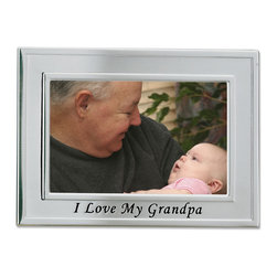 "Lawrence Frames - Brushed Metal 4x6 I Love My Grandpa Picture Frame - Sentiments Collection - Gorgeous brushed silver plated metal picture frame with black embossed lettering ""I Love My Grandpa"" is perfect for any treasured photo.    High quality black velvet backing with an easel for horizontal table top display, and hangers for horizontal wall mounting.    Heavy weight 4x6 metal picture frame is made with exceptional workmanship and comes individually boxed."