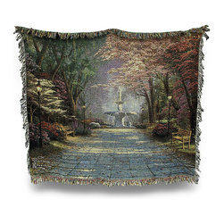 Zeckos - Thomas Kinkade Savannah Romance Tapestry Throw Blanket 50 Inch x 60 Inch - This multicolored woven tapestry throw blanket is a wonderful addition to any home. Made of cotton, the blanket measures 50 inches wide, 60 inches long, and has approximately 1 1/2 inches of fringe around the border. The blanket features a depiction of Thomas Kinkade's Savannah Romance Care instructions are to machine wash in cold water on a delicate cycle, tumble dry on low heat, wash with dark colors separately, and do not bleach. This comfy blanket makes a great gift for friends and family.