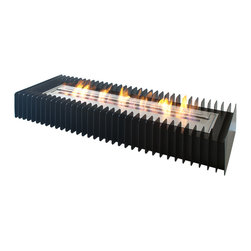 """Ignis Products - EBG3600 Ethanol Fireplace Grate - Heat a larger home with clean-burning ethanol with this EBG3600 Ethanol Fireplace Grate that is geared for an approximate output of 20,500 BTUs. This large capacity unit is ventless and can be used in an existing fireplace unit, or it can be inserted into a custom fireplace of your own design. It holds an incredible 10 liters of ethanol, which is enough to keep you comfortably warm in larger rooms for up to nine hours between refills. This unit features double-layer construction for added durability and strength, and it can be installed easily without the need for a chimney or special venting system. Dimensions: Grate: 42 1/4"""" x 15 3/4"""" x 6 1/2"""". Burner: 36 1/2"""" x 8 1/2"""" x 4 1/2"""". Features: Eco-Friendly - doesn't produce any smoke, sooth or dangerous gases. Easy Maintenance - just wipe it with a damp cloth once in a while."""