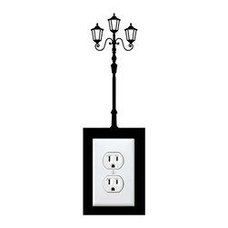 StickONmania - Outlet Lamp Post Sticker - A cool sticker for your wall outlet. Decorate your home with original vinyl decals made to order in our shop located in the USA. We only use the best equipment and materials to guarantee the everlasting quality of each vinyl sticker. Our original wall art design stickers are easy to apply on most flat surfaces, including slightly textured walls, windows, mirrors, or any smooth surface. Some wall decals may come in multiple pieces due to the size of the design, different sizes of most of our vinyl stickers are available, please message us for a quote. Interior wall decor stickers come with a MATTE finish that is easier to remove from painted surfaces but Exterior stickers for cars,  bathrooms and refrigerators come with a stickier GLOSSY finish that can also be used for exterior purposes. We DO NOT recommend using glossy finish stickers on walls. All of our Vinyl wall decals are removable but not re-positionable, simply peel and stick, no glue or chemicals needed. Our decals always come with instructions and if you order from Houzz we will always add a small thank you gift.