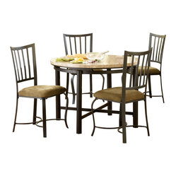 Steve Silver Paloma 5 Piece White Marble Top 42 Inch Round Dining Room Set
