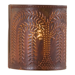 Irvin's Tinware - Willow Sconce Light, Rustic Tin - The warm glow of our sconces provide a hearty country welcome to every room in your home from entryway to family room.
