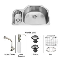Vigo Industries - All in One 32 in. Undermount Stainless Steel Kitchen Sink and Faucet Set - Enhance the look of your kitchen with a VIGO All in One Kitchen Set featuring a 32 in. Undermount kitchen sink, faucet, soap dispenser, matching bottom grids and strainers. The VG3321R double bowl sink is manufactured with 18 gauge premium 304 Series stainless steel construction with commercial grade premium satin finish. Fully undercoated and padded with a unique multi layer sound eliminating technology, which also prevents condensation. All VIGO kitchen sinks are warranted against rust. Required interior cabinet space: 34 in. Kitchen sink is cUPC and NSF-61 certified by IAPMO. All mounting hardware and cutout template provided for 1/8 in. reveal or flush installation. The VG02019ST kitchen faucet features a dual function Pull-Out spray head for aerated flow or powerful spray, and is made of solid brass with a stainless steel finish. Includes a spray face that resists mineral buildup and is easy-to-clean. High-Quality ceramic disc cartridge. Retractable 360-Degree swivel spout expandable up to 30 in. Single lever water and temperature control. All mounting hardware and hot/cold waterlines are included. Water pressure tested for industry standard, 2. 2 GPM Flow Rate. Standard US plumbing 3/8 in. connections. Faucet height: 13 7/8''. Spout reach: 8 1/2''. Kitchen faucet is cUPC, NSF-61, and AB1953 certified by IAPMO. Faucet is ADA Compliant. 2-hole installation with soap dispenser. Soap dispenser is solid brass with an elegant stainless steel finish and fits 1 1/2 in. opening with a 3 1/2 in. spout projection. Matching bottom grid are Chrome-Plated stainless steel with vinyl feet and protective bumpers. Sink strainers are made of durable solid brass in chrome finish. All VIGO kitchen sinks and faucets have a Limited Lifetime Warranty.