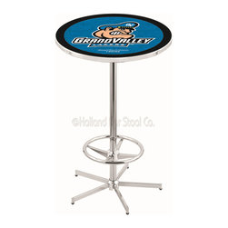 Holland Bar Stool - Holland Bar Stool L216 - 42 Inch Chrome Grand Valley State Pub Table - L216 - 42 Inch Chrome Grand Valley State Pub Table  belongs to College Collection by Holland Bar Stool Made for the ultimate sports fan, impress your buddies with this knockout from Holland Bar Stool. This L216 Grand Valley State table with retro inspried base provides a quality piece to for your Man Cave. You can't find a higher quality logo table on the market. The plating grade steel used to build the frame ensures it will withstand the abuse of the rowdiest of friends for years to come. The structure is triple chrome plated to ensure a rich, sleek, long lasting finish. If you're finishing your bar or game room, do it right with a table from Holland Bar Stool.  Pub Table (1)