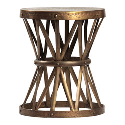 Habitat Home & Garden - Lionel Side Table - The Lionel Side Table is an industrial piece with a decorative crossbar base. With its brass finish and small size it is the perfect addition to any space.