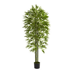 Nearly Natural - 6' Bamboo Tree UV Resistant (Indoor/Outdoor) - A handsome addition to your home, office, patio, porch, peace garden, or anywhere else, this lovely six foot bamboo tree will bring serenity and Eastern calm to your decor. With three trunks and more than 1275 leaves, this offering is fully UV resistant, making it a perfect indoor / outdoor decoration for your home or office. Also makes an ideal gift for the nature lover in your life.