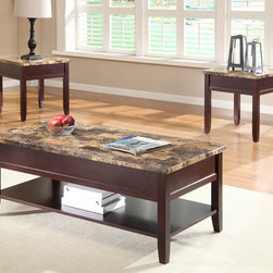 Homelegance - Homelegance Orton 3 Piece Faux Marble Top Coffee Table Set in Rich Cherry - Creatively designed to meet the needs of your casual living room is the Orton Collection. Faux marble tabletops are complimented by a rich cherry finish that covers each of the table's box-framed aprons and legs. The cocktail table features display shelf and a convenient lift tabletop that makes this functional group a welcome addition to your home. - 3447-30-3-SET.  Product features: Faux marble tabletop; Lift tabletop; Display shelf ; Rectangular Table Top Shape; Rich Cherry finish. Product includes: Cocktail Table (1); End Table (2). 3 Piece Faux Marble Top Coffee Table Set in Rich Cherry belongs to Orton Collection by Homelegance.