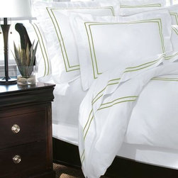 "Home Decorators Collection - Home Decorators Collection Embroidered Sham - Made of 100% cotton sateen, our luxurious Home Decorators Collection Embroidered Shams have a 600 thread count, accented with a sateen-engineered two-line embroidery pattern. The simple style of these shams will give any room a crisp and clean look that works well with any design style. Order today. Available in a variety of colors. Flat edged design. Monogramming will be in the center of the sham. Standard monogramming is 3"" and oversized is 6"". Please allow three weeks for receipt of monogrammed items."