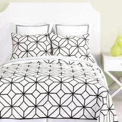 "Trina Turk - Trina Turk Trellis Black Standard Pillow Sham - This Trina Turk pillow sham's geometric design exudes modern style. On soft white cotton, minimalist black lines form a striking trellis pattern. 26""W x 20""H; Machine washable"