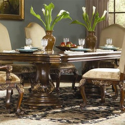 Hooker Furniture - Beladora Double Pedestal Dining Set - Includes table and four side chairs. Patterned veneer top. Three 20 in. extension leaves. Fabric back and seat. Made from hardwood solids with maple, olive ash burl and walnut veneers with resin accents. Caramel finish with gold tipping. Distance from floor to apron: 25.50 in. H. Minimum: 96 in. L x 48 in. W x 30 in. H. Maximum: 156 in. L x 48 in. W x 30 in. H. Seat height: 21 in. H. Chair: 30.75 in. W x 26.75 in. D x 48.25 in. H. Table Assembly InstructionsThe 70-piece Beladora collection of bedroom, dining, living room tables, home office and home entertainment furniture is the epitome of the grand European elegance many are looking for. Enrich you surroundings with the grand European elegance of Beladora. If you appreciate traditional forms, exquisite shapes, graceful curves and artistic hand work, the Beladora office collection by Hooker Furniture will inspire you as you work in your personal office space. The collection is dramatic and graciously scaled with maple and olive ash burl veneers accented by distinctive walnut inlays. Beladora pays homage to costly Old World antiques and showcases its exceptional design with a refined caramel finish with subtle gold tipping to accent the carving, chiseling and marquetry work all done by the hands of skilled craftsmen.