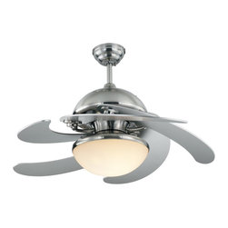 Monte Carlo 52in. Centrifica Ceiling Fan - OK, this is WAY cool. When the fan part of this is turned off, the blade fold close and this transforms into a pendant light! When you're ready for a breeze, they fold open and keep you cool!