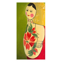 """Emma at Home - Matryoshka Three-quarter Face Canvas, 6"""" x 12"""" - You will fall in love with the rosy cheeks on this sweet little Russian doll. She's big on charm and would add character and great color to a children's room."""
