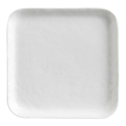 """Mercer Square Appetizer Plate - Contemporary porcelain whiteware represents a fusion of refinement and rusticity. Square slim profile takes on organic overtones with freeform rims and a finely """"hammered"""" surface that ripples the light."""
