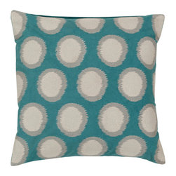 Surya Rugs - Turquoise Antique White and Flint Gray Polyester Filled 18 x 18  Pillow - - Add fun to any room with this polka-dot design and colors of turquoise antique white and flint gray. This pillow has a polyester fill and zipper closure. Made in India with one hundred percent linen this pillow is durable and priced right  - Cleaning/Care: Blot. Dry Clean  - Filled Material: Polyester Filler Surya Rugs - AR095-1818P