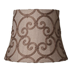 Pacific Coast - Leiden Taupe Bell Shade 10x14x11 (Spider) - An alluring embroidered scroll pattern gives this warm taupe drum shade its welcoming appeal. Add casual comfort to an outdated lamp with this decorative bell shade. Warm taupe burlap is adorned in an embroidered scroll motif made of yarn while the edges are finished with a rolled trim. With a polished brass spider fitting. The correct size harp is included free with this shade.