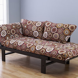 None - Elite Wood Multi Color Circles Brown Lounger - Whether sitting,lounging or sleeping,you'll love this unique and versatile lounger with a geometric multi-colored circle design. Relax in comfort on the soft mattress and included pillows.