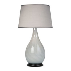 Loving Lighting - Silver Grey Sriations Glass Table Lamp with Silver Silk Shade - Features: