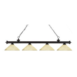 Four Light Bronze Angle Golden Mottle Glass Island Light - Finished in bronze, this four light bar fixture uses angle golden mottle glass shades to create a contemporary look with a timeless quality to it. This fixture would be perfect for the game room, or any other room of the house where a touch of under stated sophistication is needed.