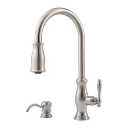 Pfister GT529-TM Hanover Pull-out Spray Kitchen Faucet with Soap Dispenser - This is a lovely option. The high neck and pull-down spout also make it very practical. And there's a soap dispenser too!