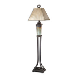 Uttermost - Uttermost Olinda, Floor Lamp 28545 - This floor lamp has a light green and metallic brown porcelain body with antiqued dark brown metal details