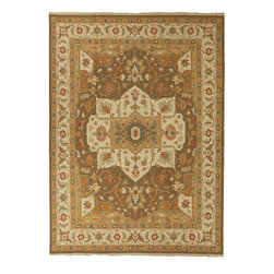 Jaipur Rugs - Hand-Knotted Oriental Pattern Wool Brown/Ivory Area Rug - Originally a construction style developed in the Caucasian region, the Sumak rug is an organic, hand-knotted, flat-woven rug that India has made its own over the centuries. Traditional designs predominate this award-winning collection, but the Jaimak Collection combines the benefits of contemporary color and durable wool for rug styling that adds sophistication to any environment. Through its unique herringbone effect and distinctive double-sided pattern, Jaimak creates a luxurious look and feel far exceeding its economical price point.