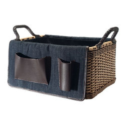 Kouboo - Rectangular Organizing Wicker Basket with Utility Pockets, Medium - This hand-woven organizing wicker basket is made from strong, flexible chair cane, a rattan vine found in tropical countries throughout the world. Sturdy woven handles with braided microfiber leather covers allow for easy portability. In natural color with a denim liner that boasts multiple utility pockets, it's perfect for storing crafts and household tools, and large enough to tote books, files, or office supplies.