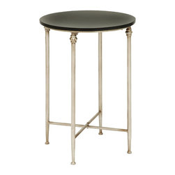 Woodland Imports - Traditional and Lovely Old Looking End Table with Modern Marble Home Decor - Traditional and lovely inspired old looking end table with modern marble living and family room home accent decor