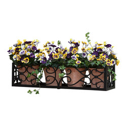 "Hooks & Lattice - Orleans Aluminum Window Box Cage, 30"", No Liner - The Orleans reflects more than your love of plants. Open, spacious, antique, and artfully refined, this flower box is all about relaxing and stopping along the fast-paced journey of modern life to smell the roses."