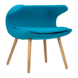 Laguna Wave Armchair in Teal - Have a quiet conversation in this chair inspired by iconic mid-20th century design. Upholstered with a bright blue fabric and accentuated with tapered wooden legs, this eye-catching chair provides an intimate space for those who want to share more with family and friends.