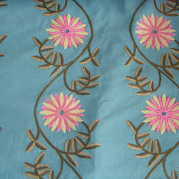 Crewel Fabric World by MDS - Crewel Fabric Sunflower Vine Teal Blue Cotton Duck- Yardage - Inspiration: Aqua Crewel is inspired by nature. Sunflower is special as it is a flower that is tied to all elements of nature. The embroidery colors Used in this fabric represent the elements of the nature. It Enriches our Living by bringing in beauty of nature into our Home. Furniture Manufacturers can Use this fabric to bring in a pop of color.