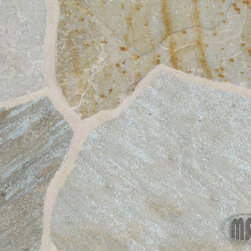 Random Golden White Flagstones - Golden White is random flagstone that features natural gold, white and grays. This durable quartzite flagstone is recommended for interior and exterior projects including flooring, landscaping, countertops and walls.