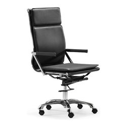 Zuo Modern - Lider Plus High Back Office Chair Black - With its ergonomic shape, padded back and seat cushions, the Lider Plus high back office chair works in comfort. It has a chromed steel frame with soft neoprene arm pads. DISCLAIMER: Zuo Modern Contemporary, Inc. is not affiliated with Herman Miller, Inc. and its products are not affiliated with Eames Aluminum Group or Softpad products.