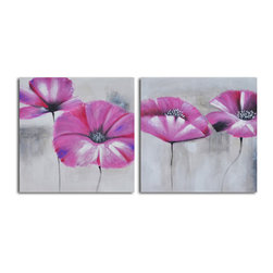 Pink poppies in mist Hand Painted 2 Piece Canvas Set - An enduringly fascinating flower, for both its stunning presentation and the lore of its past, this two-piece canvas set depicts pink poppies in the mist and is exquisitely rendered with an edge of mystery. Handcrafted by a talented artist, this one-of-a-kind painting pairs acrylic with canvas over a stretched wooden frame.