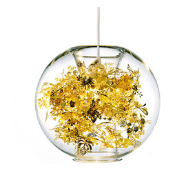 "artenica - Tangle 1 Light Globe Pendant - No need for a green thumb. This ""terrarium"" needs no dirt, always looks good, and provides its own light. The modern, clear glass globe is filled with a garland of yellow thermoplastic flowers sure to cast a bouquet of light and shadows across your space."