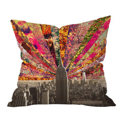 DENY Designs - Bianca Green Blooming NY Outdoor Throw Pillow, 18x18x5 - Do you hear that noise? It's your outdoor area begging for a facelift and what better way to turn up the chic than with our outdoor throw pillow collection? Made from water and mildew proof woven polyester, our indoor/outdoor throw pillow is the perfect way to add some vibrance and character to your boring outdoor furniture while giving the rain a run for It's money.