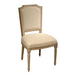 Kathy Kuo Home - Sulpice Shield Back French Country Spindle Leg Dining Chair - Make your dining room a pure and simple pleasure. Formal but not fussy, in natural wood and linen, this French country chair invites your family and guests to comfort and enjoyment.