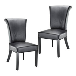 Safavieh - Safavieh Kiera Side Chair X-2TES-A8054RCM - The Kiera side chair reworks a classic, slightly feminine, dining form by upholstering it in contemporary black leather. Black finish on the legs completes the look.