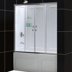 """DreamLine - DreamLine Visions 56 to 60"""" Frameless Sliding Tub Door and QWALL-Tub - Choose the VISIONS Tub Door and Backwall Kit from DreamLine, an efficient and beautiful solution for a bathroom remodeling project. The VISIONS shower door has two stationary glass panels and two sliding glass panels that open to create an ample center point of entry. The wall panels are made from durable and attractive Acrylic/ABS materials, have a tile pattern and are easy to install with a trim-to-size fit. DreamLine kits deliver a complete transformation for a bath tub space. Items included: Visions Tub Door and QWALL-Tub Backwall KitOverall kit dimensions: 28 - 32 in. D x 56 - 60 in. W x 60 in. HVisions Tub Door:,  56 - 60 in. W x 58 in. H ,  1/4 (6 mm) clear tempered glass,  Chrome or Brushed Nickel hardware finish,  Frameless glass design,  Width installation adjustability: 56 - 60 in.,  Out-of-plumb installation adjustability: Up to 1 in. per side,  Two sliding doors, flanked by two stationary panels,  Anodized aluminum wall profiles and guide rails,  Aluminum top and bottom guide rails may be shortened by cutting up to 4"""",  Door opening: 22 - 26 in.,  Stationary panel: Two 12 3/4 in. panels ,  Material: Tempered Glass, Aluminum,  Tempered glass ANSI certifiedQWALL-Tub Backwall Kit:,  Color: White,  Assembly required,  Durable acrylic/ABS construction ,  Compatible with most rectangular shaped bathtubs,  Specially designed to be installed over existing solid surface (not directly against the studs),  Attractive tile pattern ,  Includes 2 glass corner shelves,  Depth may be trimmed down from 32 in. to 28 in.,  Width may be trimmed down from 59 1/2 in. to 56 in.,  Height is 60 in.,  Tub is not includedProduct Warranty:,  Tub Door: Limited 5 (five) year manufacturer warranty,  Shower Backwalls: Limited 1 (one) year manufacturer warranty"""