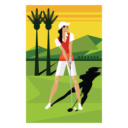 Custom Photo Factory - Woman Golfing on Grass Canvas Wall Art - Woman Golfing on Grass  Size: 20 Inches x 30 Inches . Ready to Hang on 1.5 Inch Thick Wooden Frame. 30 Day Money Back Guarantee. Made in America-Los Angeles, CA. High Quality, Archival Museum Grade Canvas. Will last 150 Plus Years Without Fading. High quality canvas art print using archival inks and museum grade canvas. Archival quality canvas print will last over 150 years without fading. Canvas reproduction comes in different sizes. Gallery-wrapped style: the entire print is wrapped around 1.5 inch thick wooden frame. We use the highest quality pine wood available. By purchasing this canvas art photo, you agree it's for personal use only and it's not for republication, re-transmission, reproduction or other use.